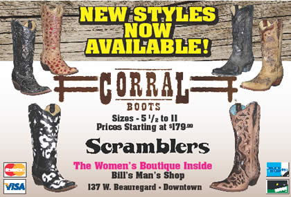 New styles of Corral Boots are now in stock at Scramblers inside Bill's Man's Shop in San Angelo